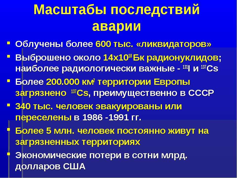 Масштабы последствий аварии Облучены более 600 тыс. «ликвидаторов» Выброшено ...