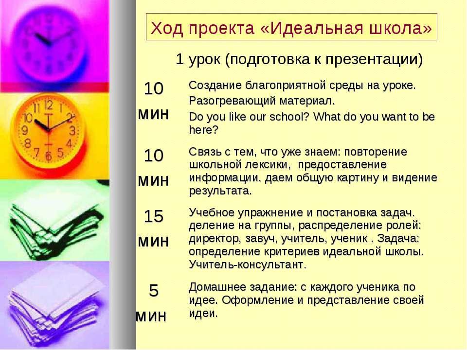 Ход проекта «Идеальная школа» 1 урок (подготовка к презентации)