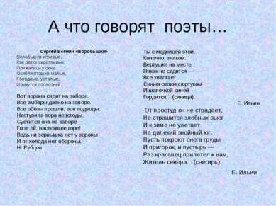 А что говорят поэты… Сергей Есенин «Воробышки» Воробышки игривые, Как детки с...