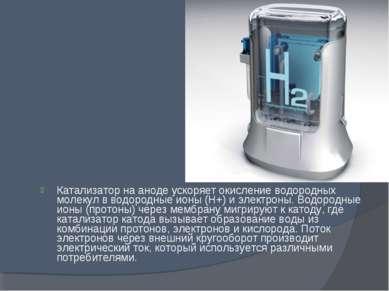 Катализатор на аноде ускоряет окисление водородных молекул в водородные ионы ...