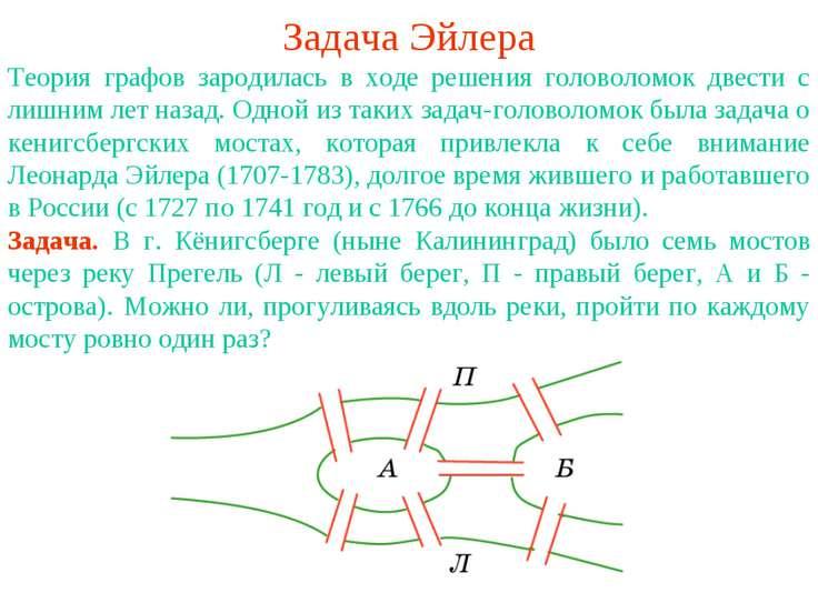 Задача Эйлера Теория графов зародилась в ходе решения головоломок двести с ли...