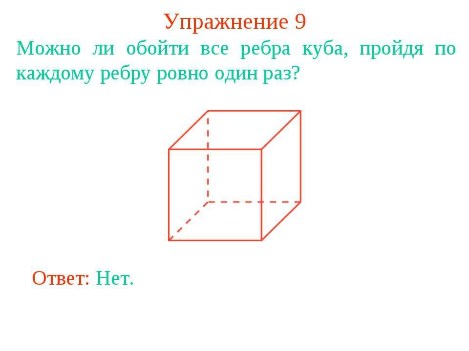 Упражнение 9 Можно ли обойти все ребра куба, пройдя по каждому ребру ровно од...