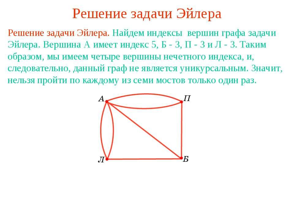 Решение задачи Эйлера Решение задачи Эйлера. Найдем индексы вершин графа зада...