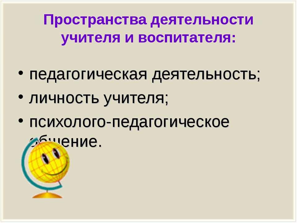 Пространства деятельности учителя и воспитателя: педагогическая деятельность;...