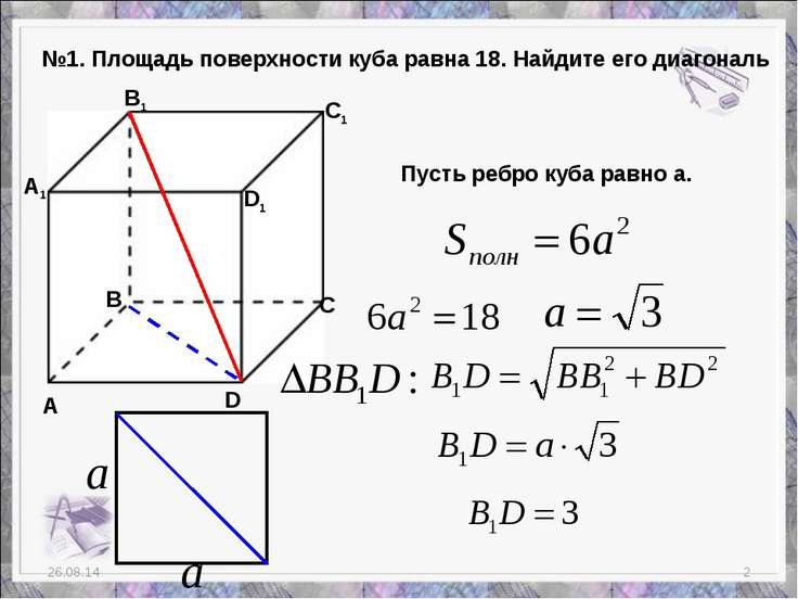 * * №1. Площадь поверхности куба равна 18. Найдите его диагональ А В С D A1 B...