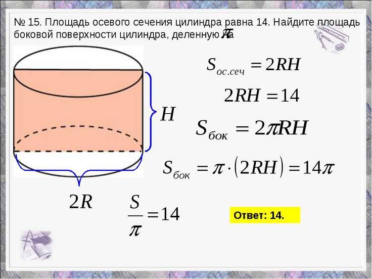 № 15. Площадь осевого сечения цилиндра равна 14. Найдите площадь боковой пове...