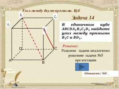 Антонова Г.В. Угол между двумя прямыми. Куб Задача 15 Решение: AB∥DC ⇒ A C B D