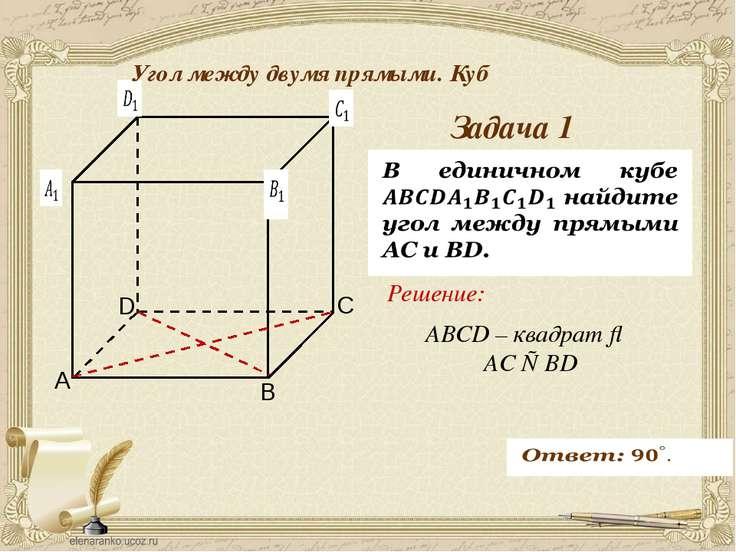 Антонова Г.В. Задача 1 Угол между двумя прямыми. Куб ABCD – квадрат ⇒ AC ⊥ BD...