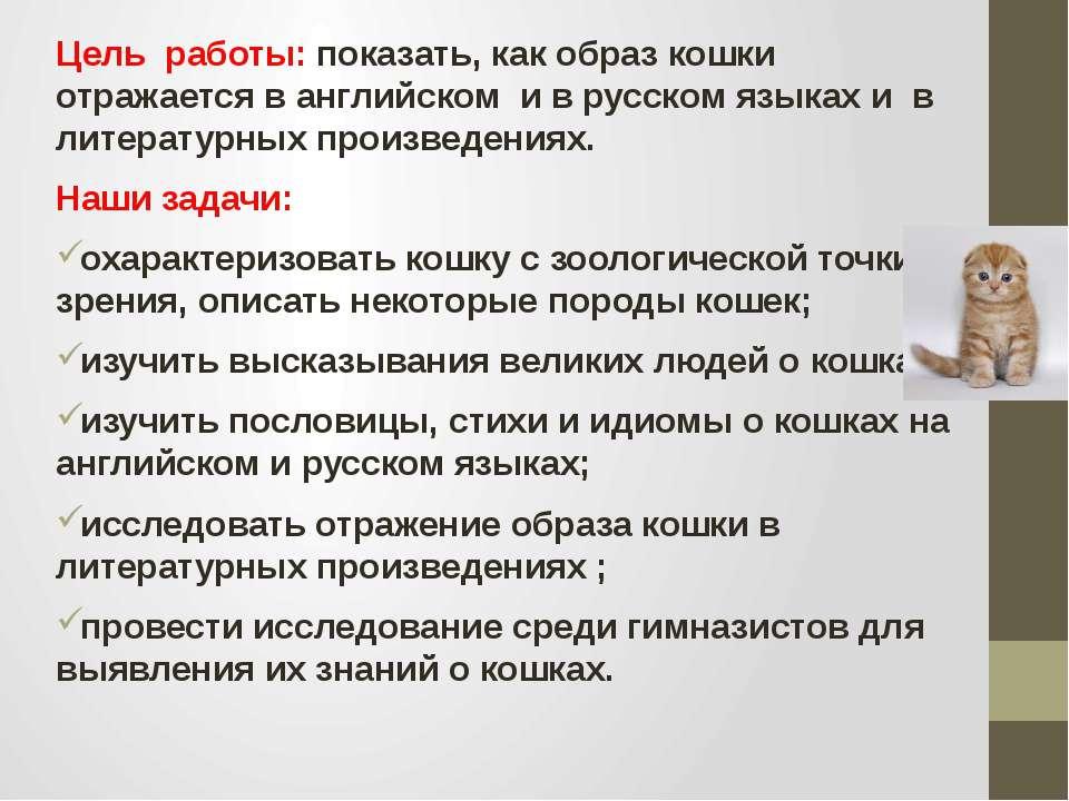 Цель работы: показать, как образ кошки отражается в английском и в русском яз...