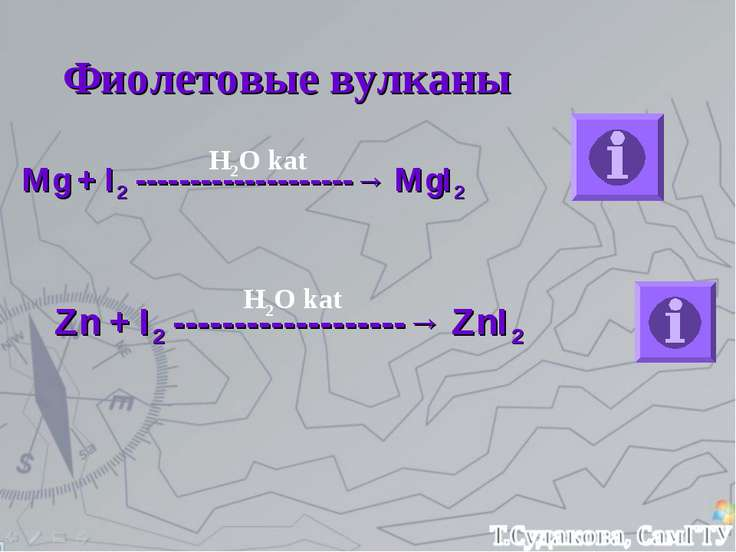 Фиолетовые вулканы Mg + I2 --------------------→ MgI2 Zn + I2 ---------------...