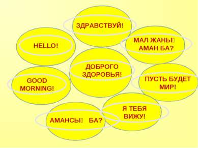 ДОБРОГО ЗДОРОВЬЯ! HELLO! GOOD MORNING! АМАНСЫҢ БА? МАЛ ЖАНЫҢ АМАН БА? ПУСТЬ Б...
