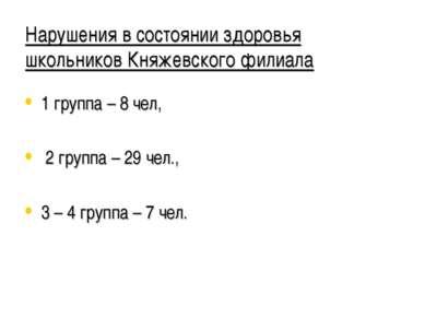 Нарушения в состоянии здоровья школьников Княжевского филиала 1 группа – 8 че...