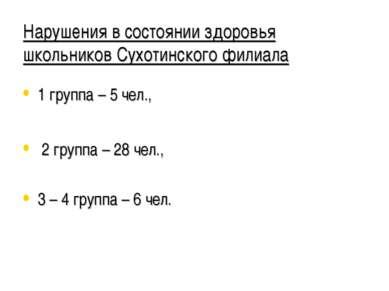 Нарушения в состоянии здоровья школьников Сухотинского филиала 1 группа – 5 ч...