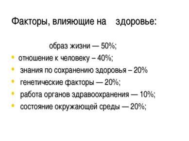 Факторы, влияющие на здоровье: образ жизни — 50%; отношение к человеку – 40%;...