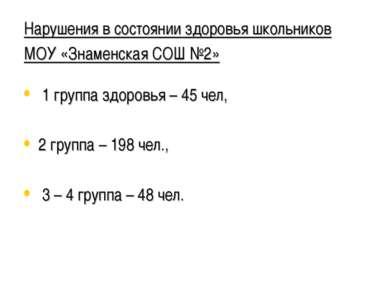 Нарушения в состоянии здоровья школьников МОУ «Знаменская СОШ №2» 1 группа зд...
