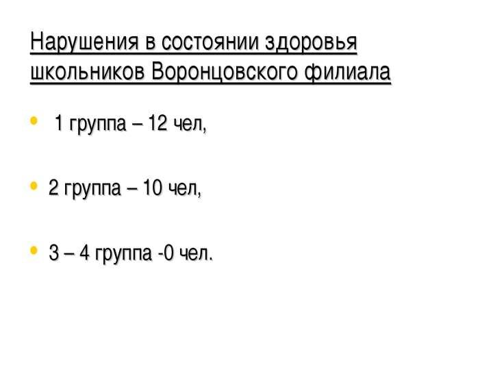 Нарушения в состоянии здоровья школьников Воронцовского филиала 1 группа – 12...