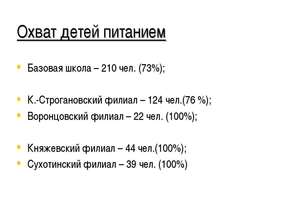 Охват детей питанием Базовая школа – 210 чел. (73%); К.-Строгановский филиал ...