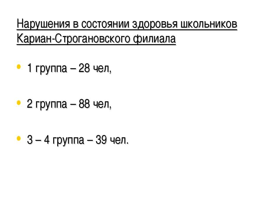 Нарушения в состоянии здоровья школьников Кариан-Строгановского филиала 1 гру...