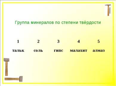 группа Группа минералов по степени твёрдости 1 2 3 4 5 тальк соль гипс малахи...