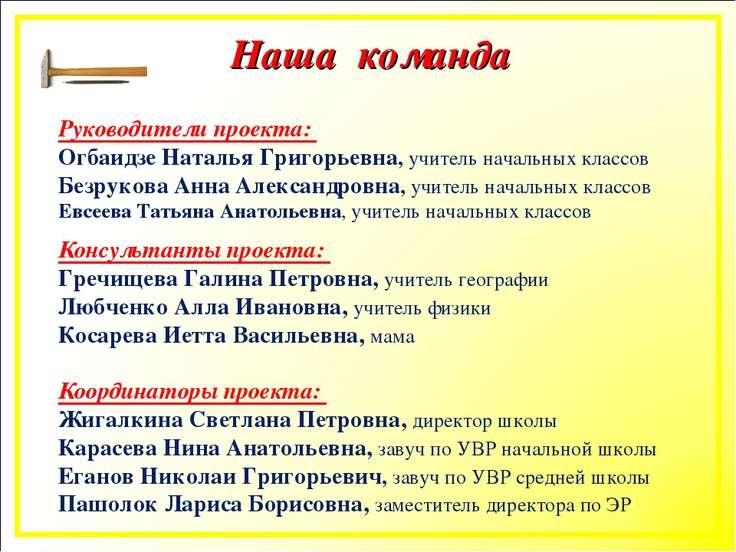 Наша команда Руководители проекта: Огбаидзе Наталья Григорьевна, учитель нача...