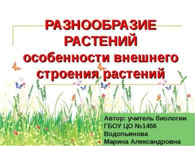 РАЗНООБРАЗИЕ РАСТЕНИЙ особенности внешнего строения растений Автор: учитель б...