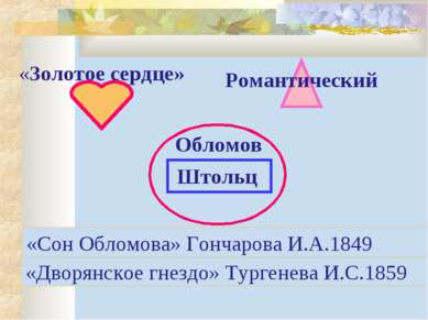 Штольц «Золотое сердце» Романтический Обломов «Дворянское гнездо» Тургенева И...