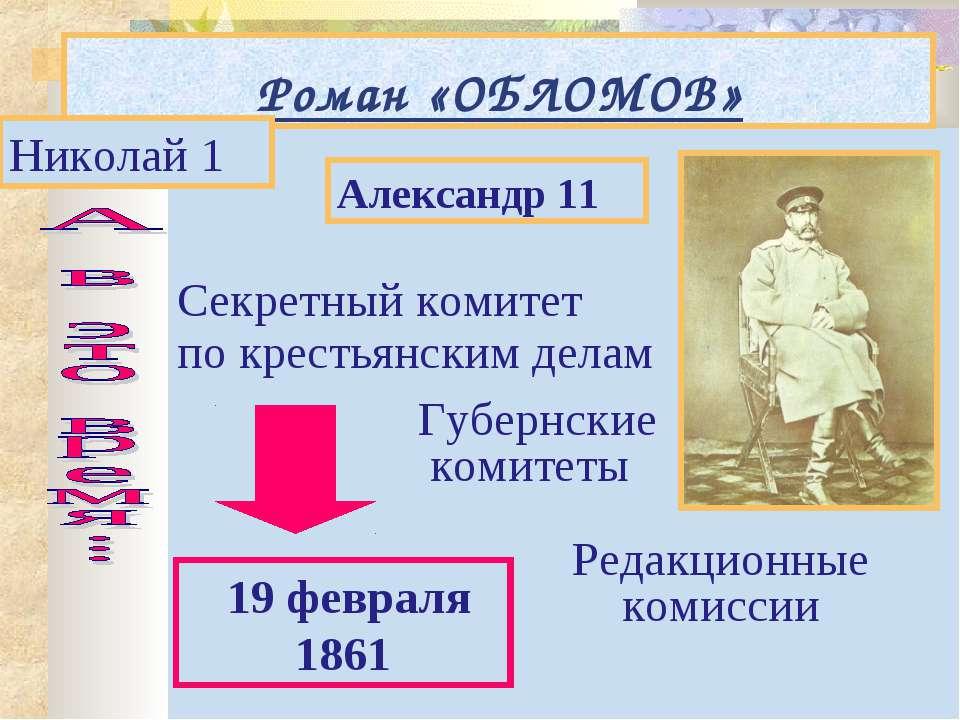Роман «ОБЛОМОВ» Николай 1 Александр 11 19 февраля 1861 Секретный комитет по к...