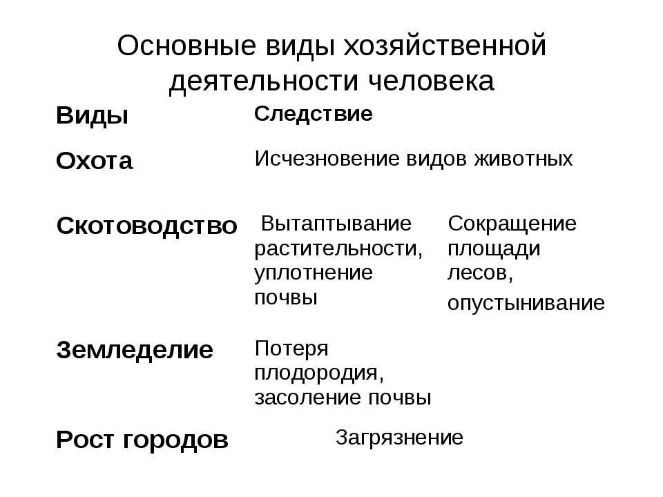 Основные виды хозяйственной деятельности человека