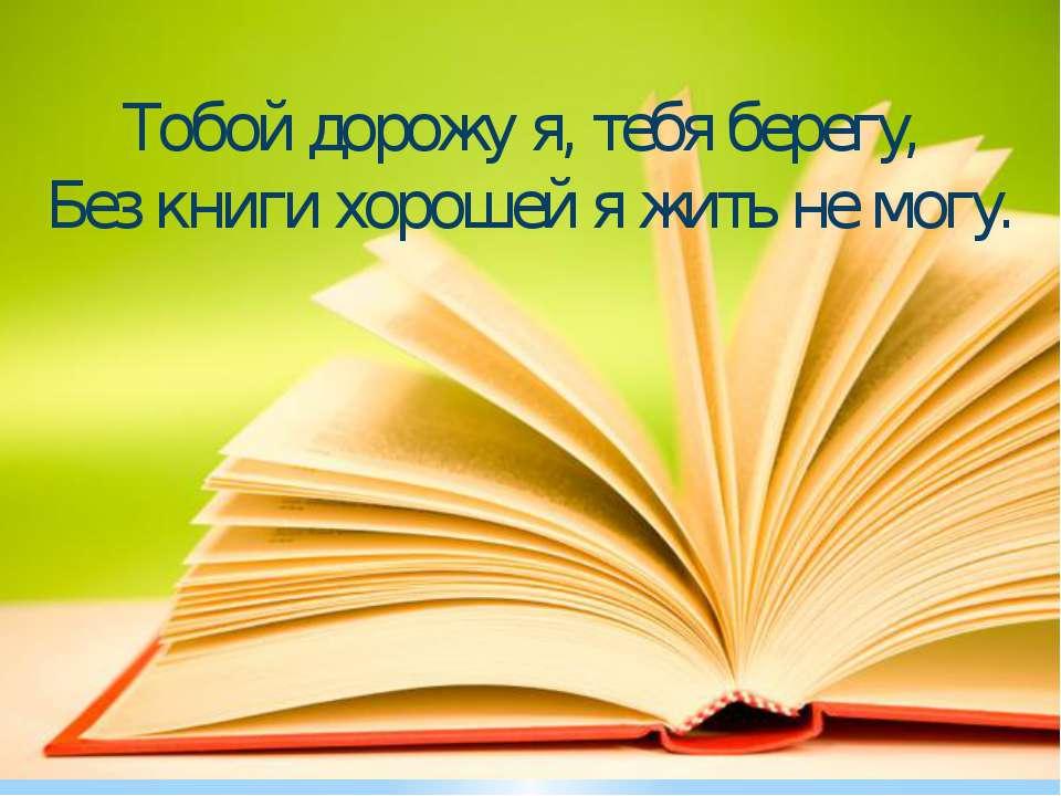 Тобой дорожу я, тебя берегу, Без книги хорошей я жить не могу.