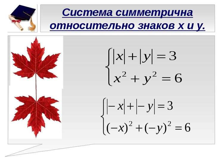 Система симметрична относительно знаков х и у.