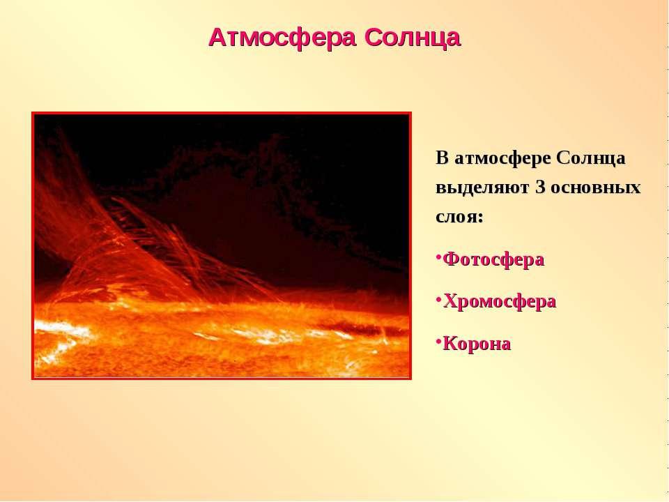 Атмосфера Солнца В атмосфере Солнца выделяют 3 основных слоя: Фотосфера Хромо...