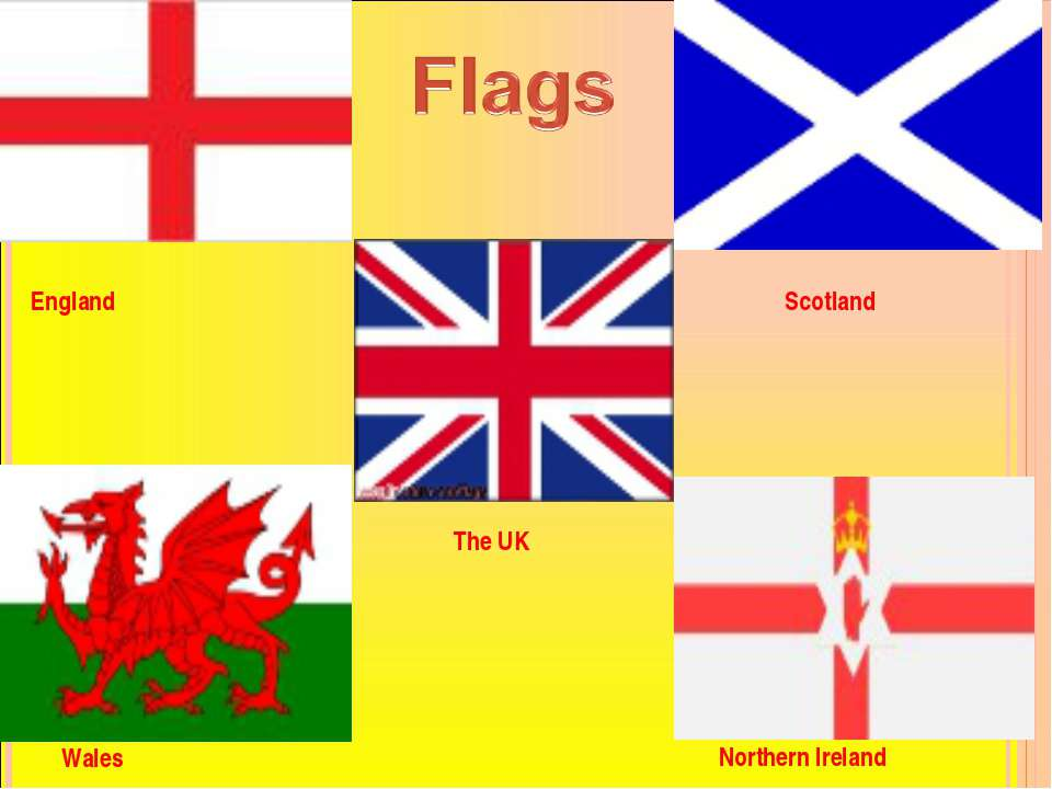 FLAGS The UK Scotland Wales Northern Ireland England