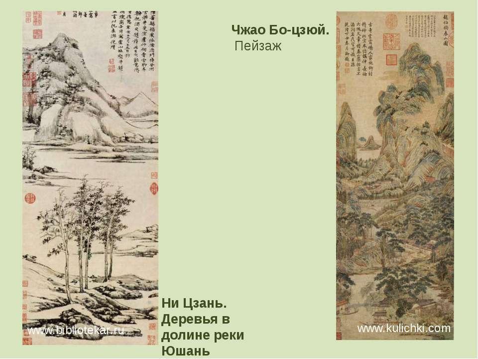 Ни Цзань. Деревья в долине реки Юшань www.bibliotekar.ru Чжао Бо-цзюй. Пейзаж...
