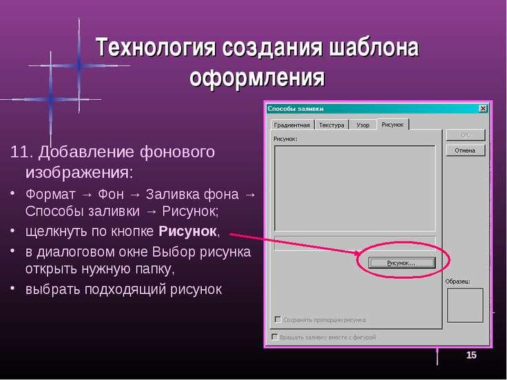 * Технология создания шаблона оформления Добавление фонового изображения: Фор...