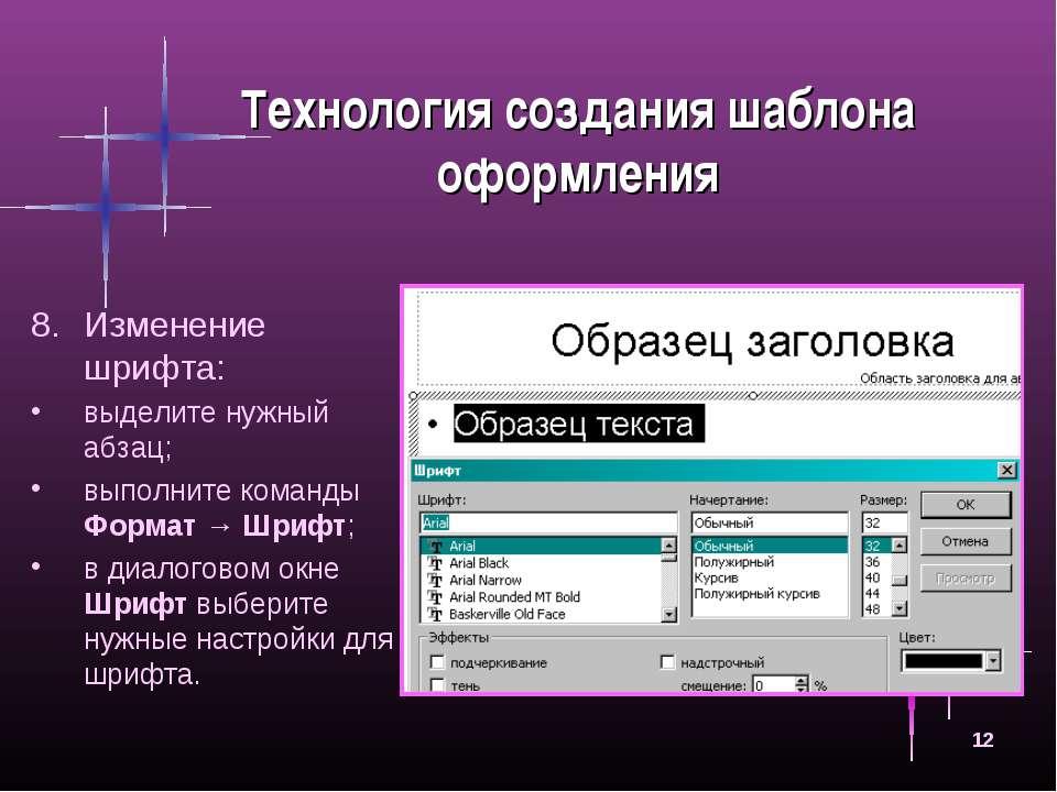 * Технология создания шаблона оформления Изменение шрифта: выделите нужный аб...