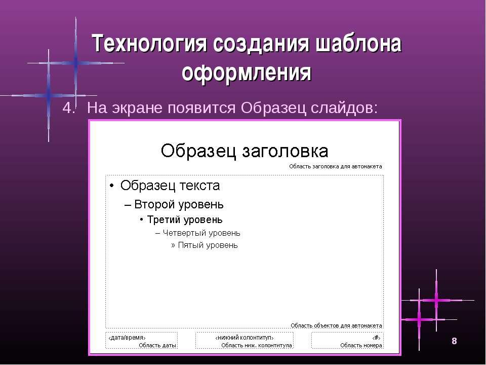 * Технология создания шаблона оформления На экране появится Образец слайдов: