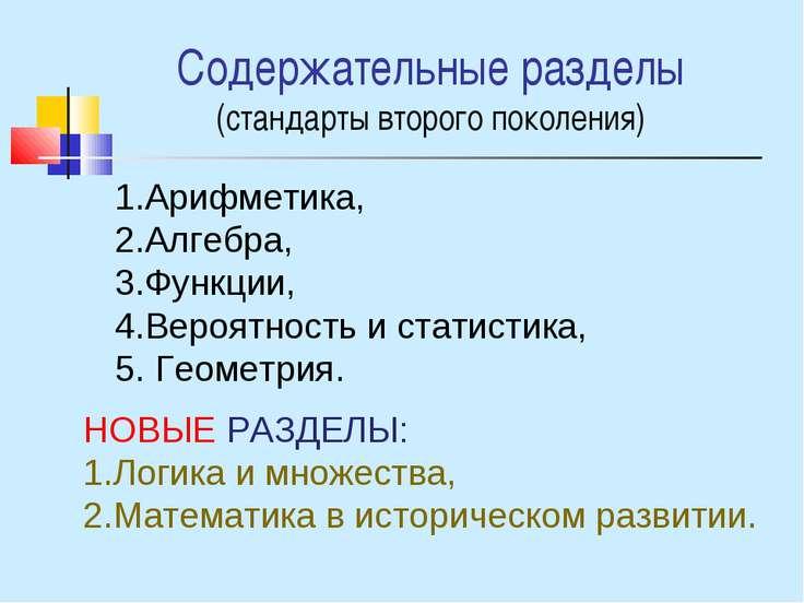Содержательные разделы (стандарты второго поколения) Арифметика, Алгебра, Фун...