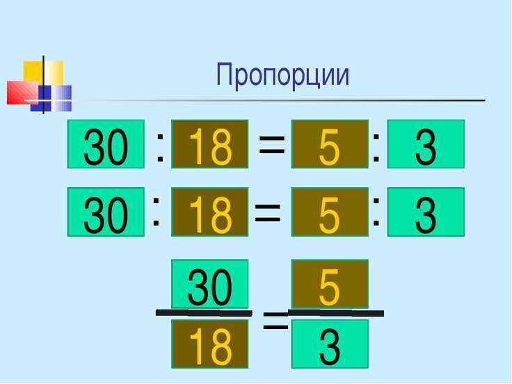 Пропорции 30 18 5 3 : = : 30 18 5 3 : : = 30 18 5 3 =