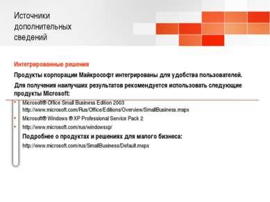 Источники дополнительных сведений Интегрированные решения Продукты корпорации...