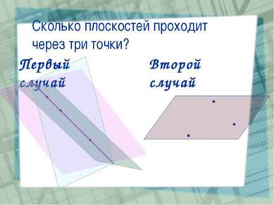 Сколько плоскостей проходит через три точки? Первый случай Второй случай
