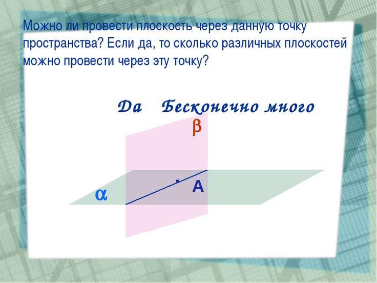 Можно ли провести плоскость через данную точку пространства? Если да, то скол...