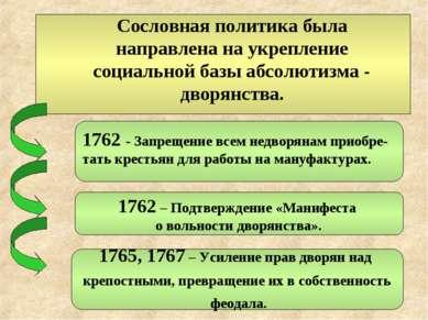 1762 – Подтверждение «Манифеста о вольности дворянства». 1765, 1767 – Усилени...