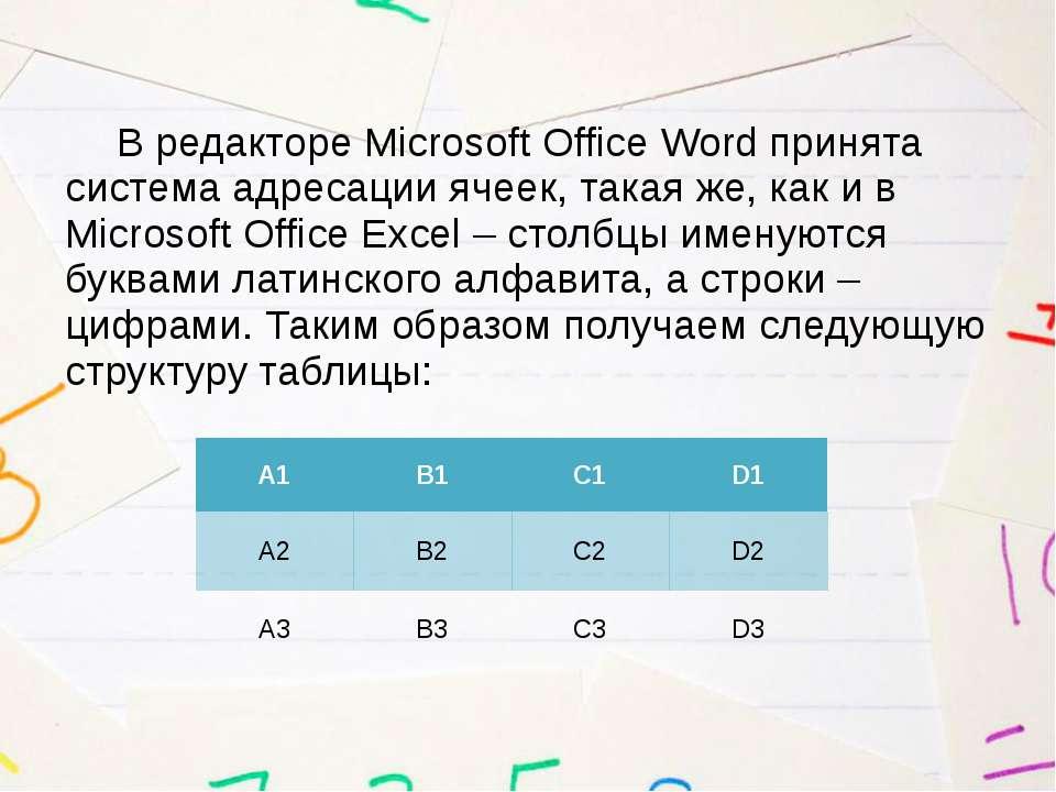 В редакторе Microsoft Office Word принята система адресации ячеек, такая же, ...