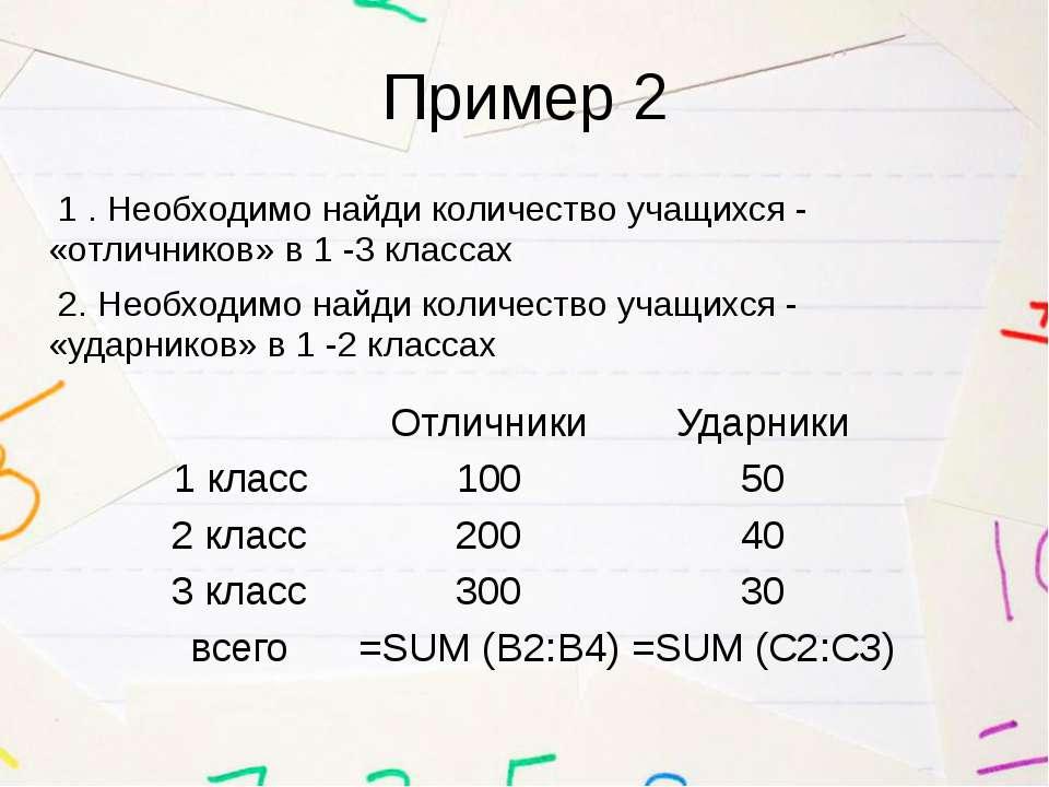 Пример 2 1 . Необходимо найди количество учащихся - «отличников» в 1 -3 класс...