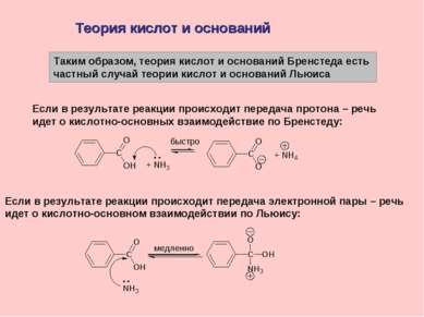 Теория кислот и оснований Таким образом, теория кислот и оснований Бренстеда ...