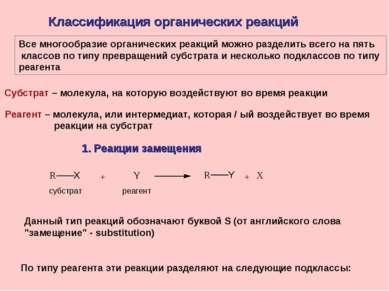 Классификация органических реакций Все многообразие органических реакций можн...