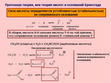 Протонная теория, или теория кислот и оснований Бренстеда Сила кислоты опреде...
