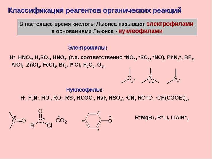 В настоящее время кислоты Льюиса называют электрофилами, а основаниями Льюиса...