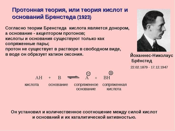 Протонная теория, или теория кислот и оснований Бренстеда (1923) Йоханнес-Ник...