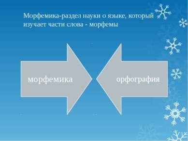 Морфемика-раздел науки о языке, который изучает части слова - морфемы